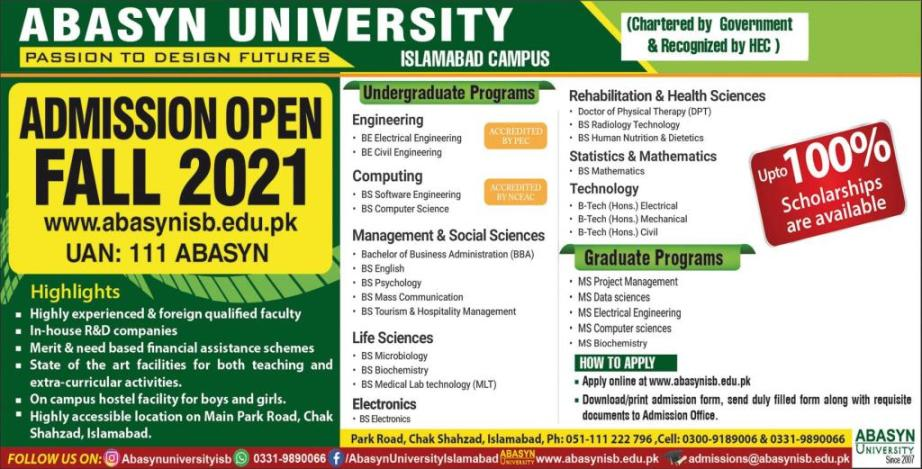 admission announcement of Abasyn University (sub Campus)