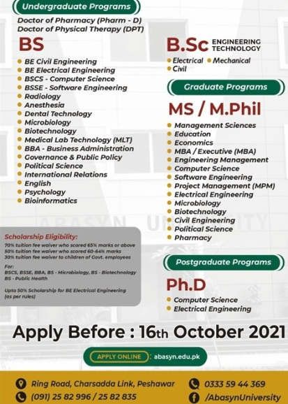 admission announcement of Abasyn University