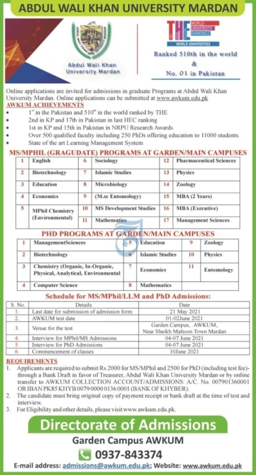 admission announcement of Abdul Wali Khan University, Mardan