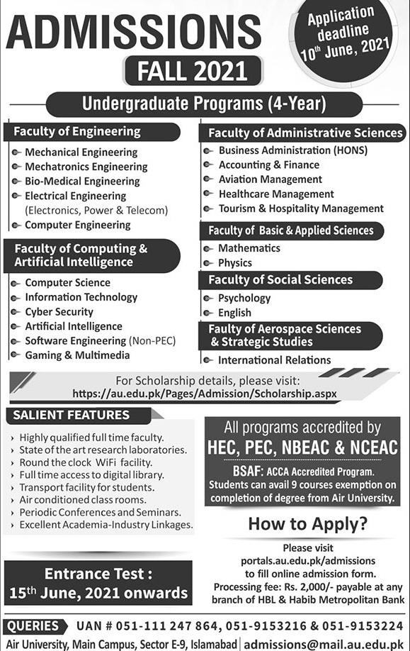 admission announcement of Air University