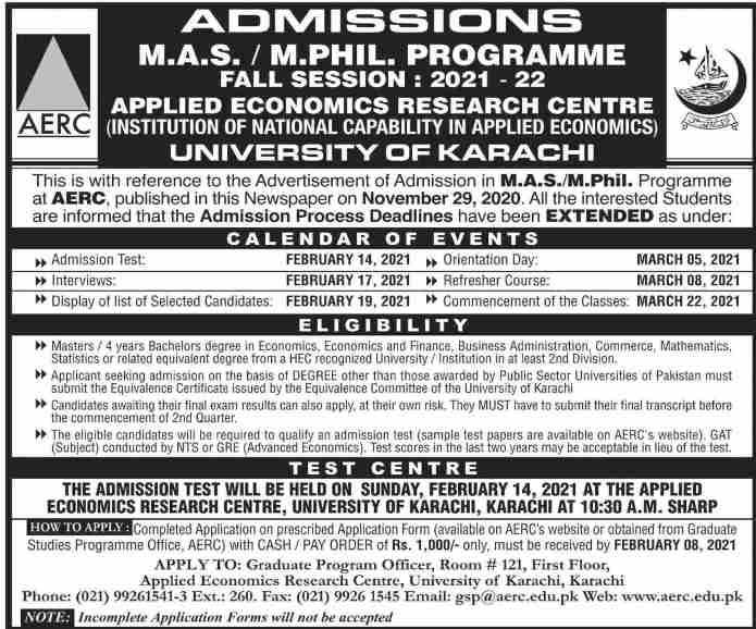 admission announcement of University Of Karachi