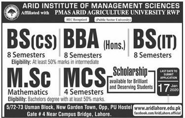 admission announcement of Arid Institute Of Management Sciences