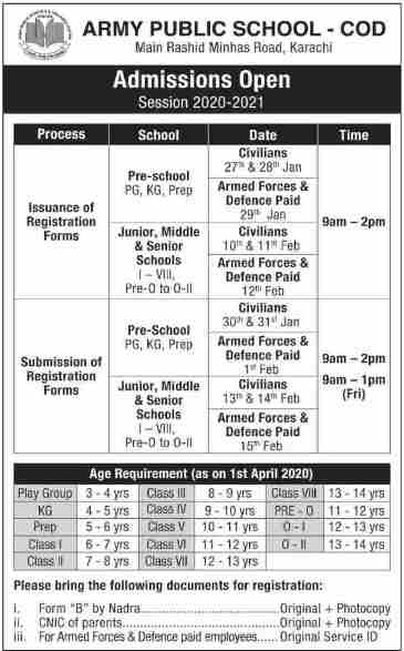 admission announcement of Army Public School