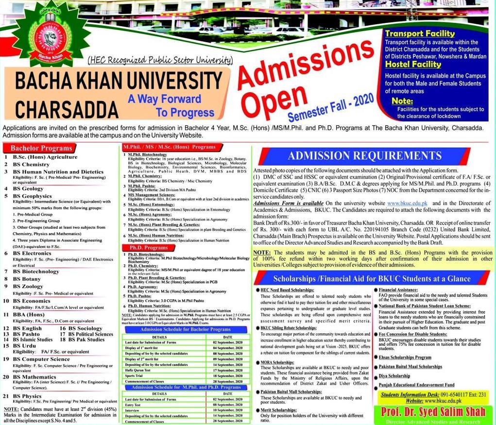 admission announcement of Bacha Khan University