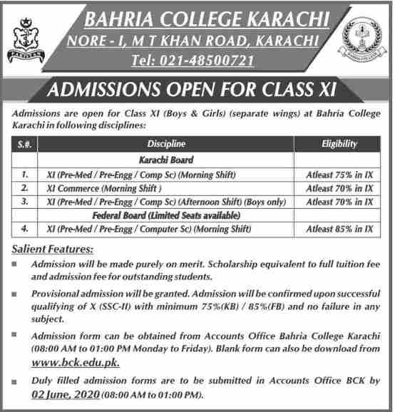 admission announcement of Bahria College (khan Road)