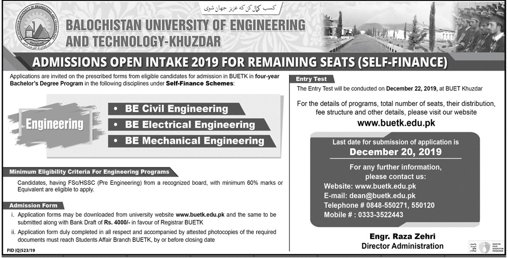 admission announcement of Balochistan University Of Engineering & Technology