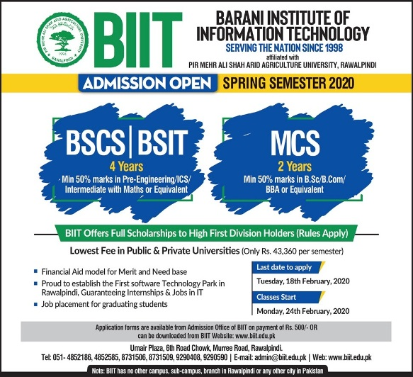 admission announcement of Barani Institute Of Information Technology