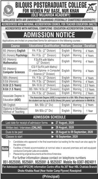 admission announcement of Bilquis College Of Eduacton For Women [chaklala]