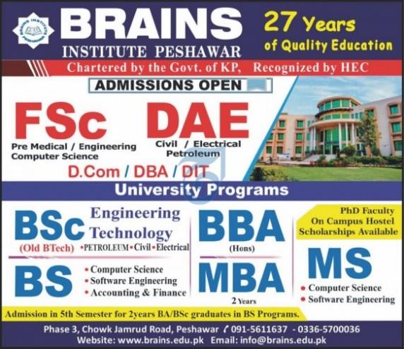 admission announcement of Brains Institute