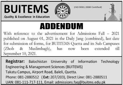 admission announcement of Balochistan University Of It & Management Sciences