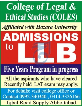 admission announcement of College Of Legal And Ethical Studies