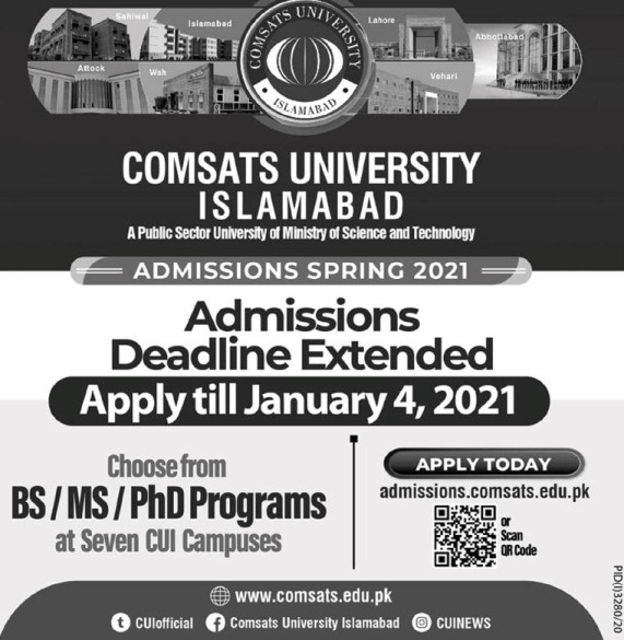 admission announcement of Comsats University Islamabad( Lahore Campus )