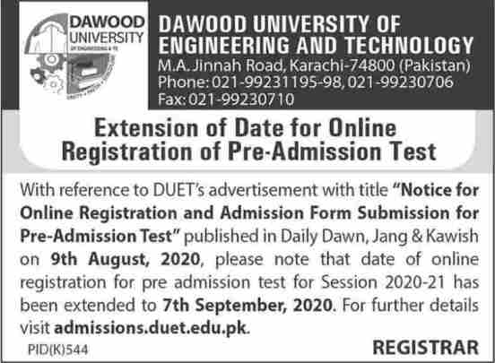 admission announcement of Dawood University Of Engineering And Technology
