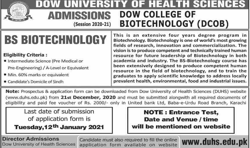 admission announcement of Dow University Of Health Sciences