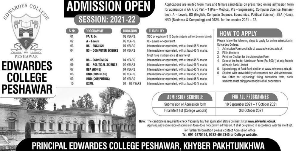admission announcement of Edwardes College