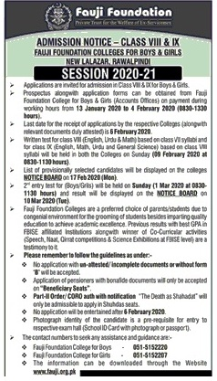 admission announcement of Fauji Foundation College For Boys, New Lalazar