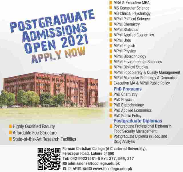 admission announcement of Forman Christian College