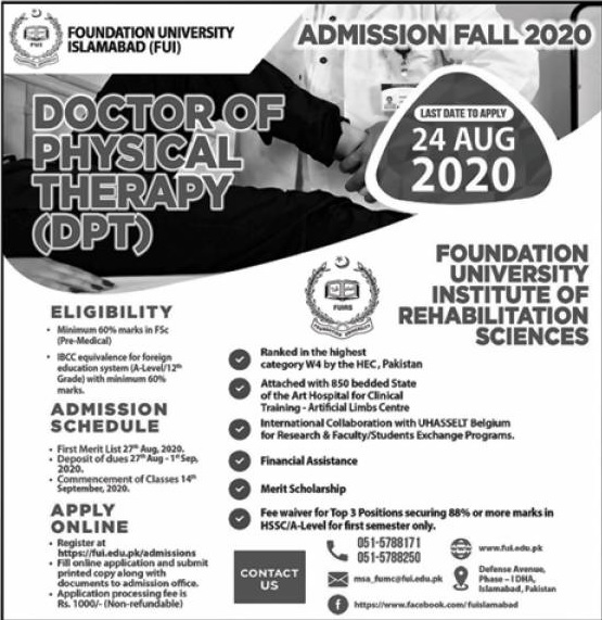 admission announcement of Foundation University