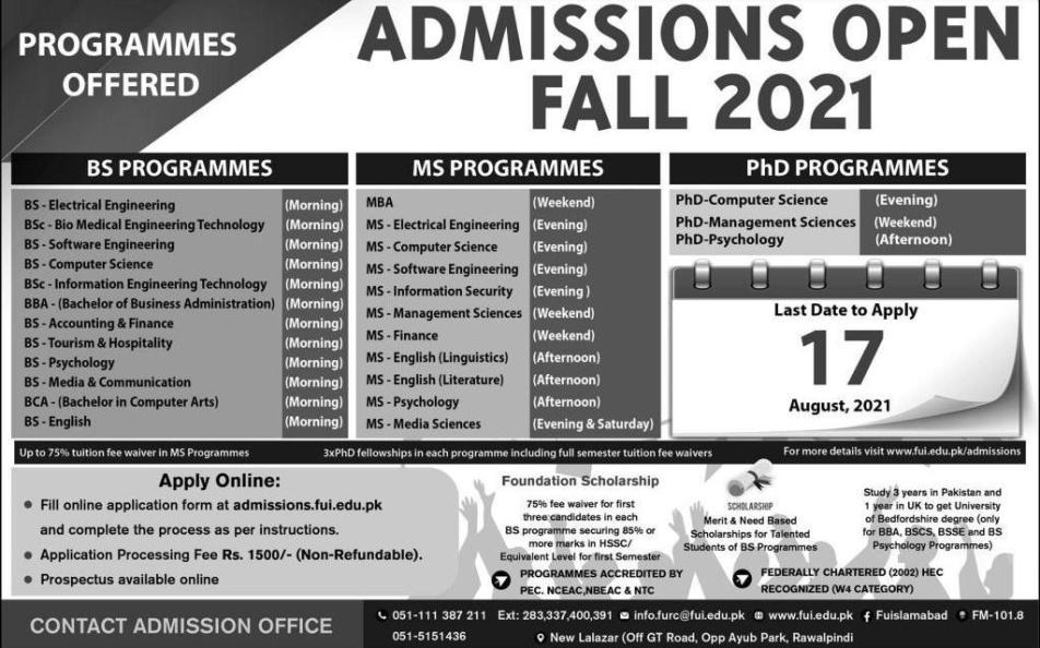admission announcement of Foundation University Islamabad (sub Campus)