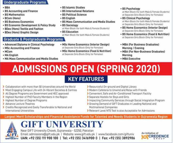 admission announcement of Gift University