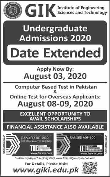 admission announcement of Ghulam Ishaq Khan  Institute Of Engineering Sciences & Technology