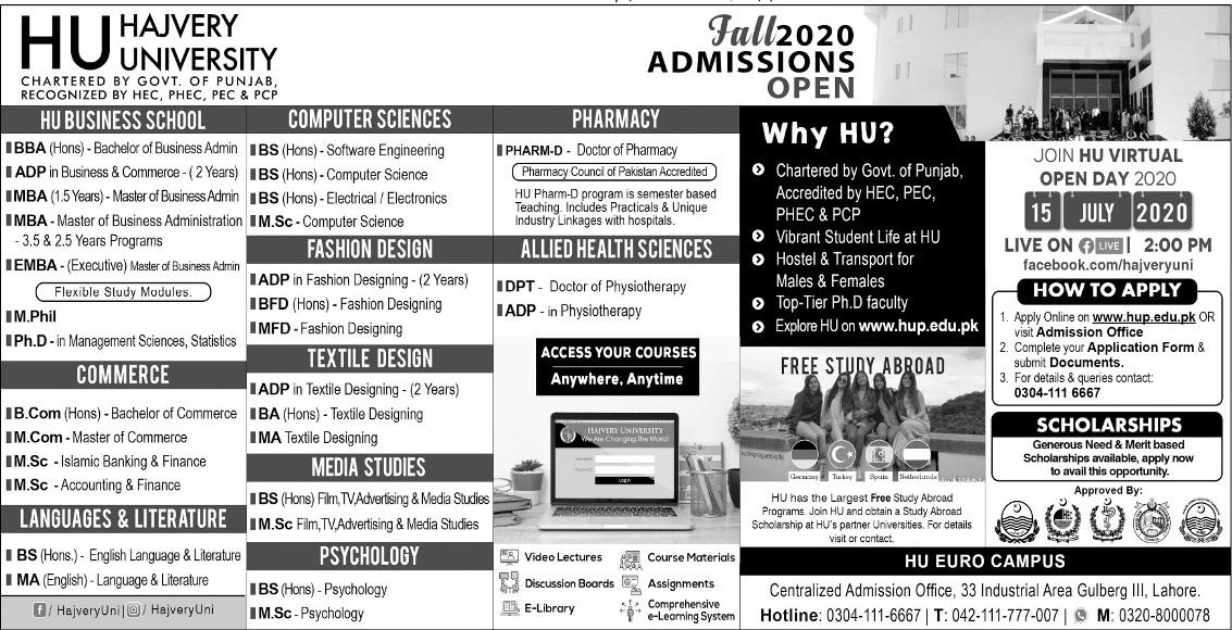 Hajvery University Hu Lahore Admission 2020 Undergraduate Admission