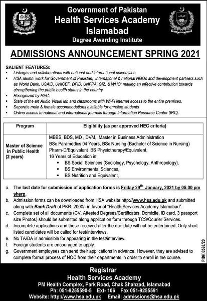 admission announcement of Health Services Academy