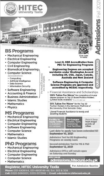 admission announcement of Hitec University