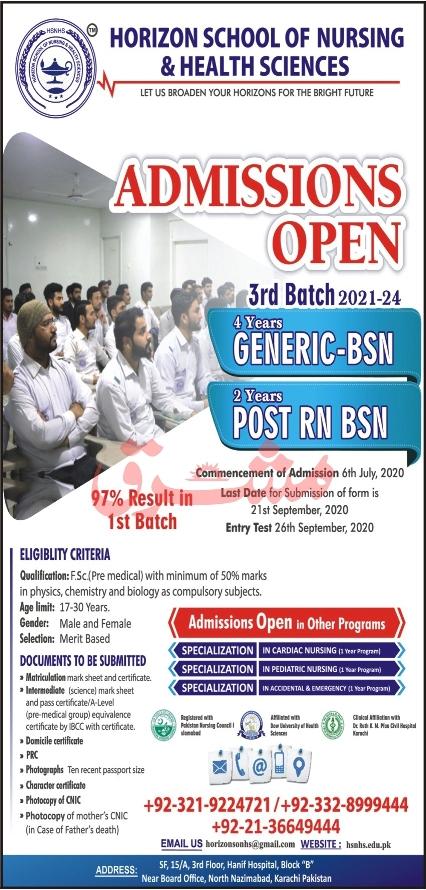 admission announcement of Horizon School Of Nursing & Health Sciences