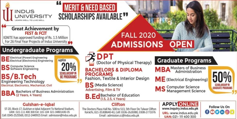 admission announcement of Indus University