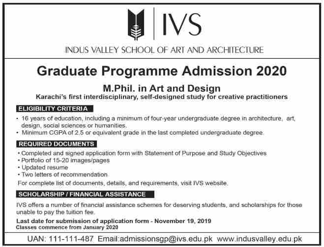 admission announcement of Indus Valley School Of Art And Architecture