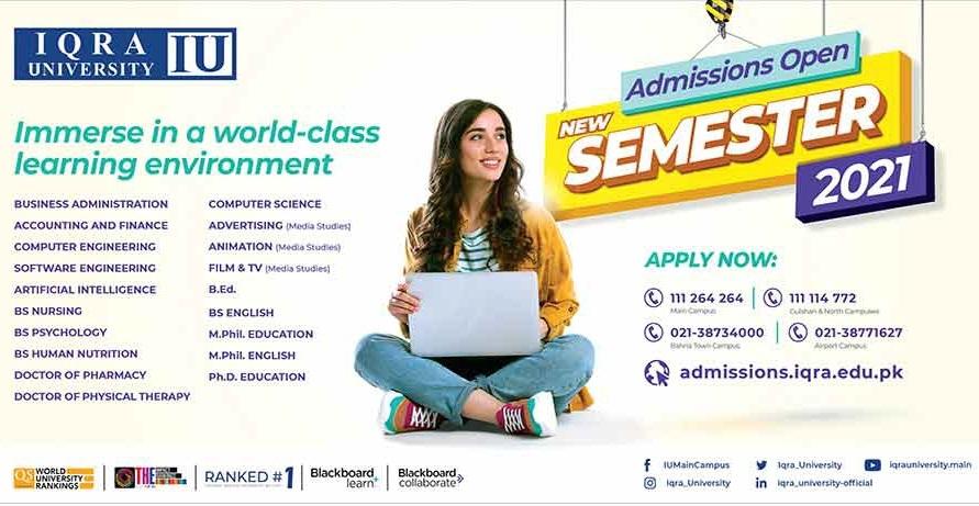 admission announcement of Iqra University [kch]