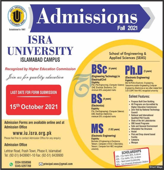 admission announcement of Isra University [isb]]