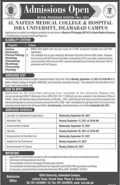 admission announcement of Al-nafees Medical College & Hospital
