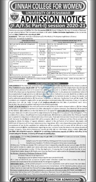 admission announcement of Jinnah College For Women