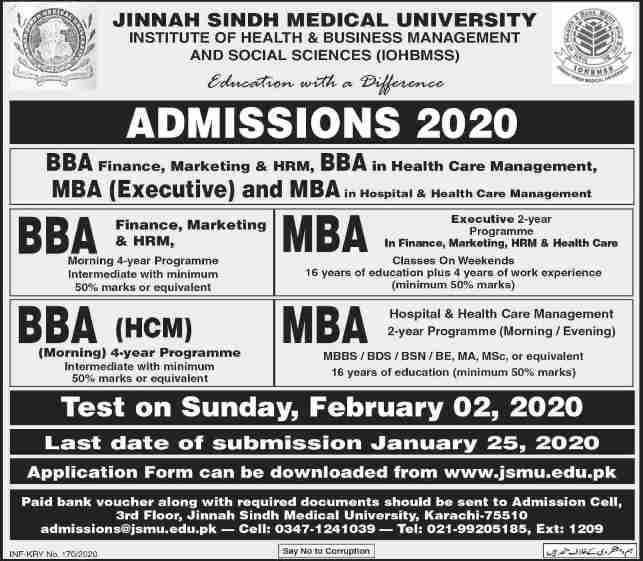 admission announcement of Jinnah Sindh Medical University