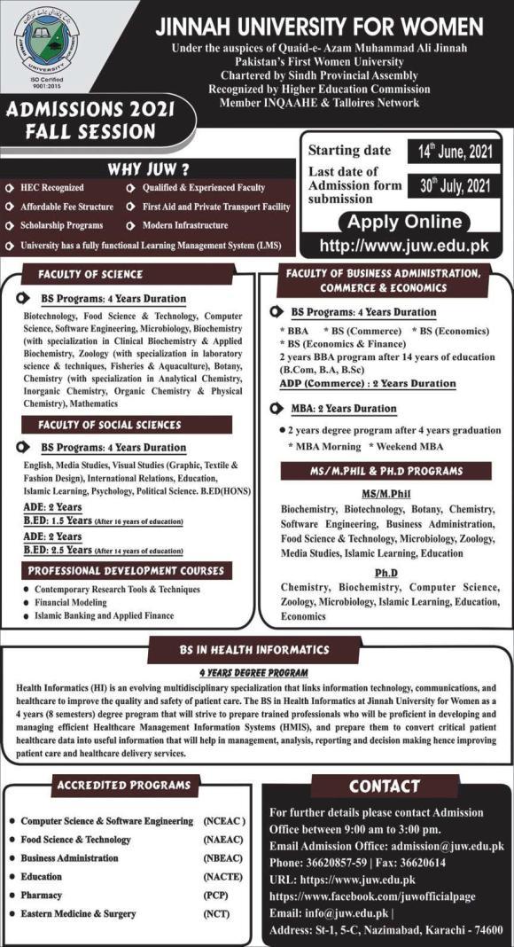 admission announcement of Jinnah University For Women