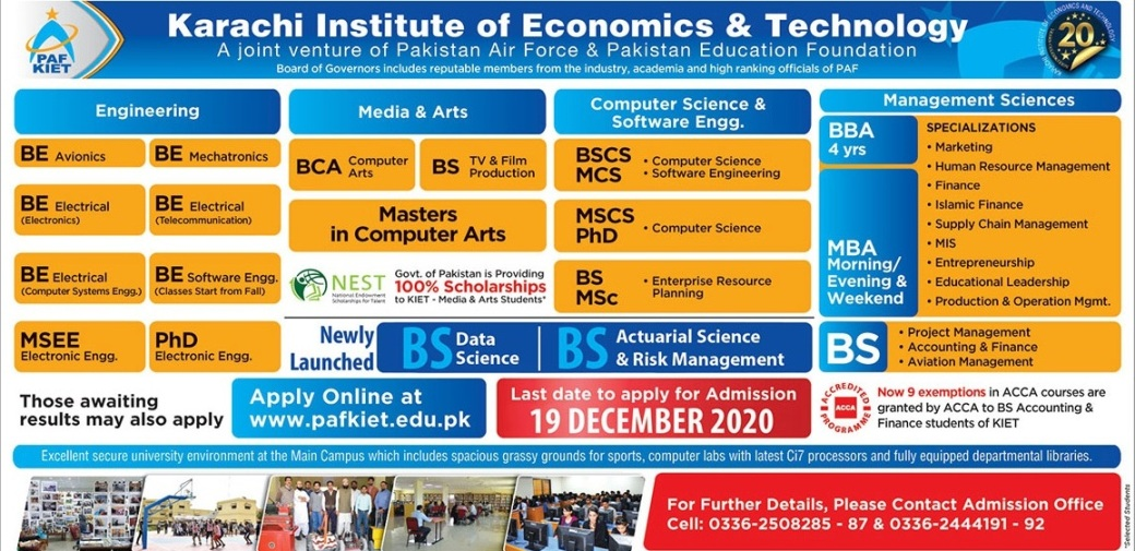 admission announcement of Karachi Institute Of Economics & Technology