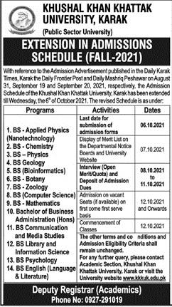 admission announcement of Khushal Khan Khattak University