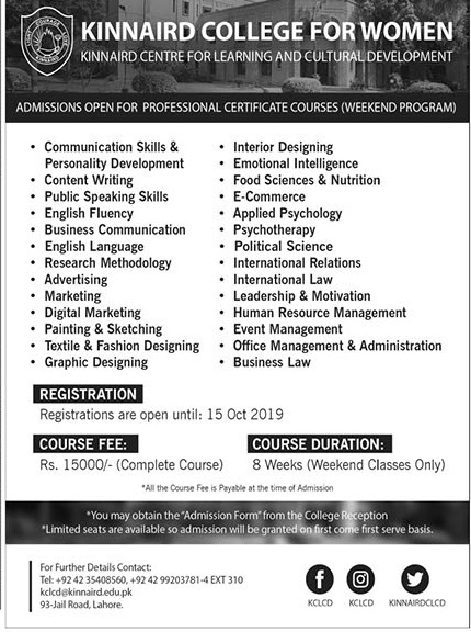 admission announcement of Kinnaird College For Women
