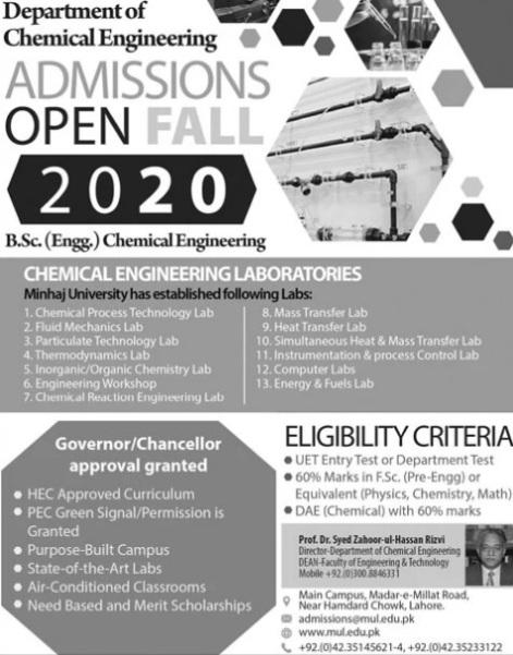 admission announcement of Minhaj University