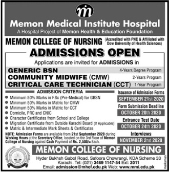 admission announcement of Memon Medical Institute Hospital