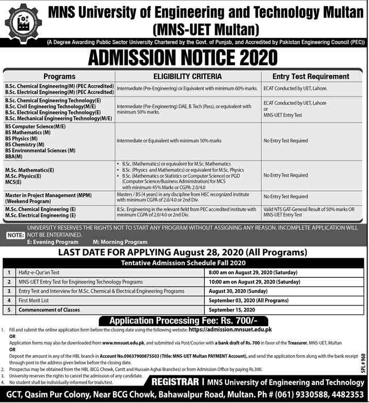 admission announcement of Muhammad Nawaz Sharif University Of Engineering And Technology