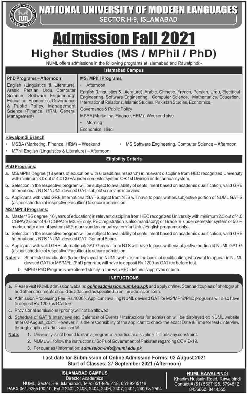 admission announcement of National University Of Modern Languages, Islamabad