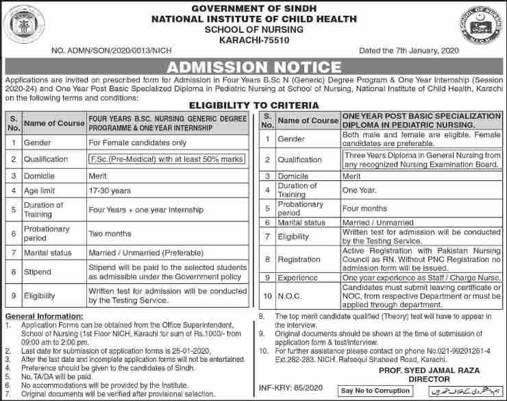 admission announcement of National Institute Of Child Health