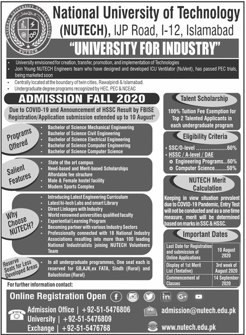 admission announcement of National University Of Technology