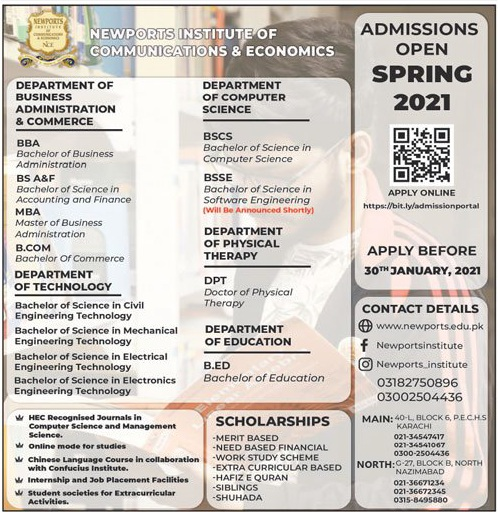 admission announcement of Newports Institute Of Communications And Economics