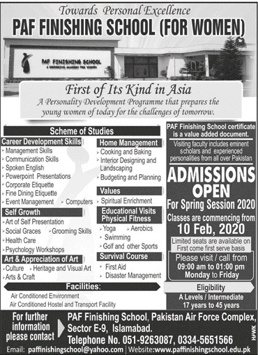 admission announcement of Paf Finishing School For Women