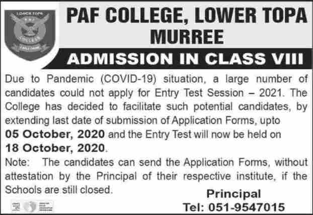 admission announcement of Paf College