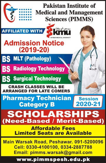 admission announcement of Pakistan Institute Of Medical And Management Sciencse
